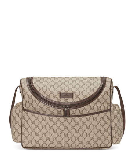Gucci Basic GG Supreme Canvas Diaper Bag, Beige