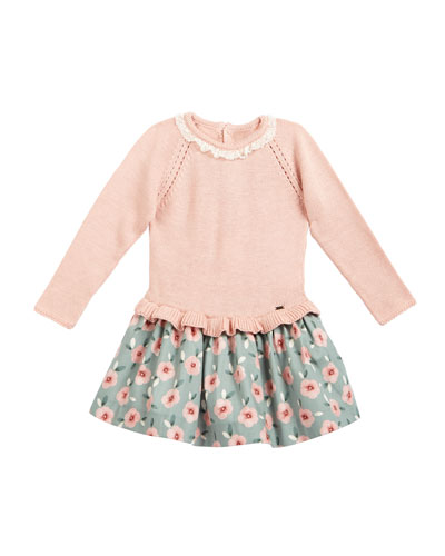 Long-Sleeve Lace Combo Dress  Natural  Size 3-24 Months