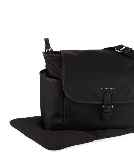 Burberry Flap-Top Canvas Diaper Bag