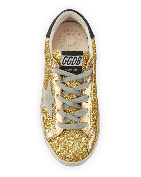 Golden Goose Superstar Glitter Fabric Low-Top Sneakers, Baby/Toddler