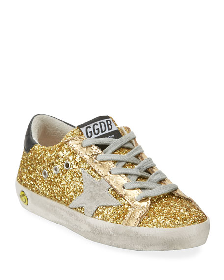 Golden Goose Superstar Glitter Fabric Low-Top Sneakers, Toddler/Kids