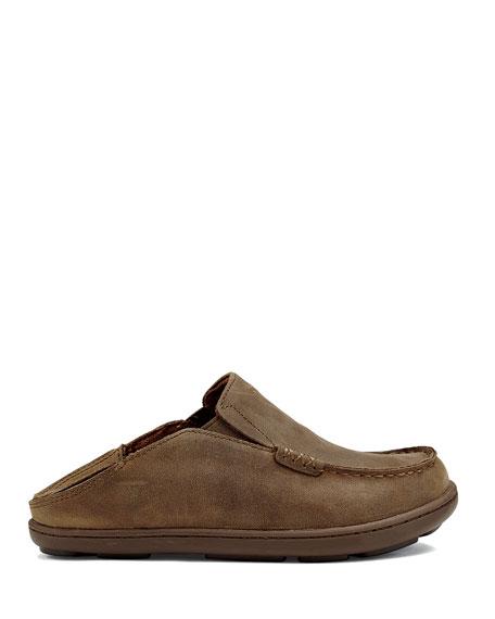 Olukai Boys' Moloa Leather Slipper, Kids