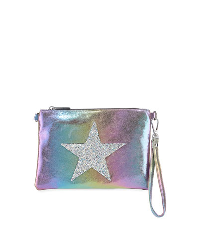 Girls' Glitter Star Iridescent Crossbody Bag