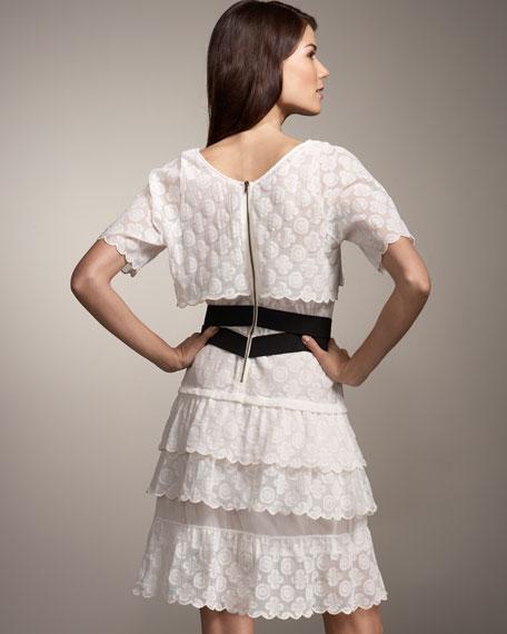 Belted Lace Ruffle Dress