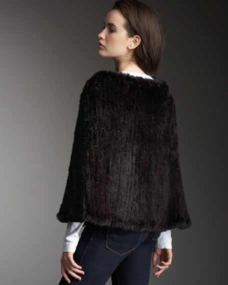 Knit Rabbit Poncho, Dark Brown