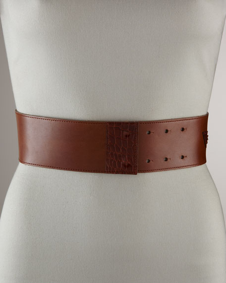 Alligator-Embossed Leaf Belt
