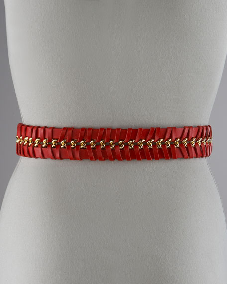Leather Woven Chain Belt