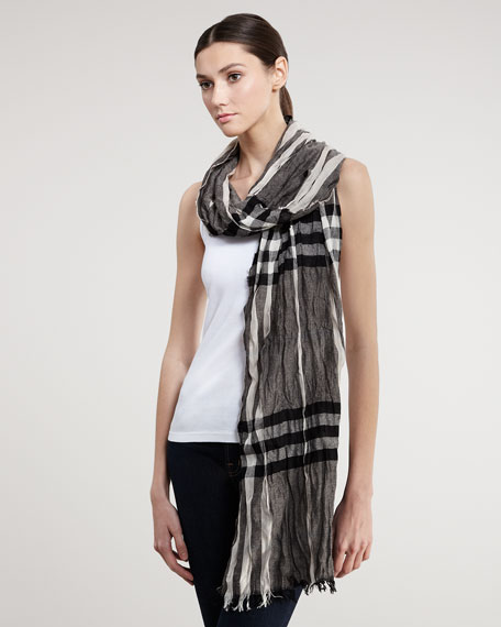 Crinkled Check Scarf, Trench
