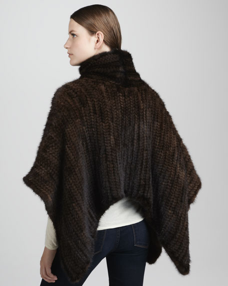 Knit Mink Fur Turtleneck Poncho