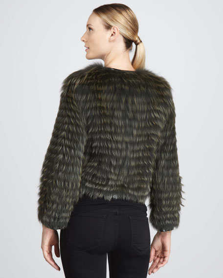 Pan Leather-Stripe Fox Fur Jacket