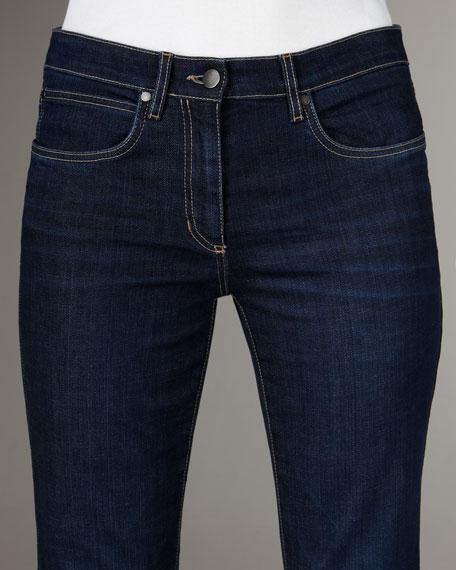 Straight-Leg Washed Indigo Jeans