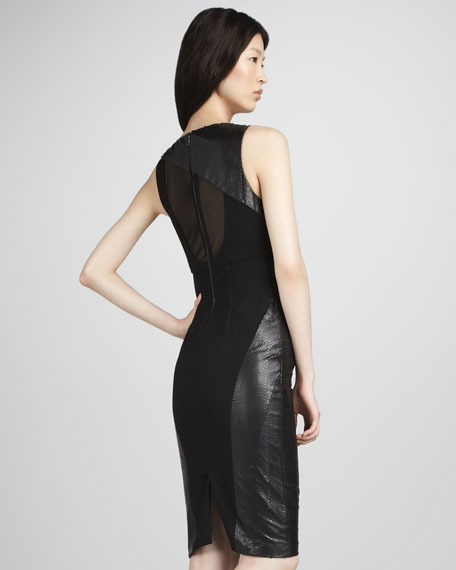 Belen Leather-Panel Dress