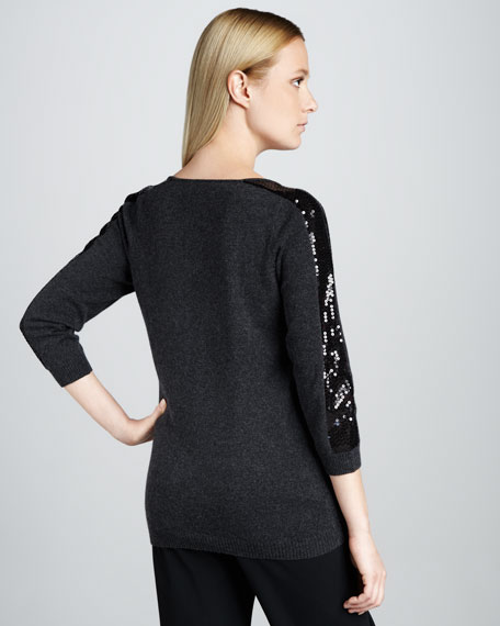 Sequined Scoop-Neck Cashmere Sweater