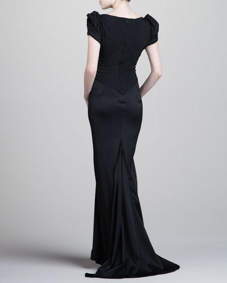 Long Crepe Mermaid Gown, Black