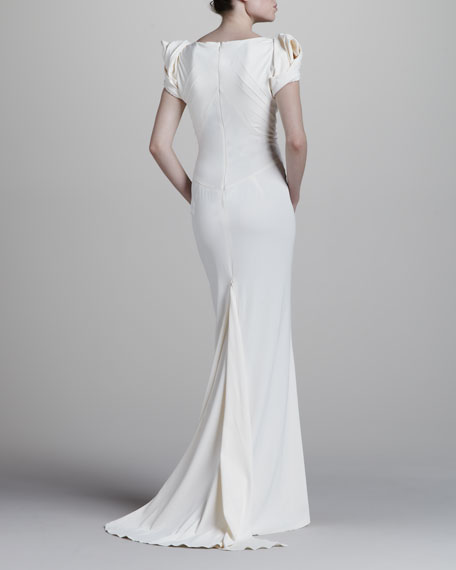 Long Crepe Mermaid Gown, Cream