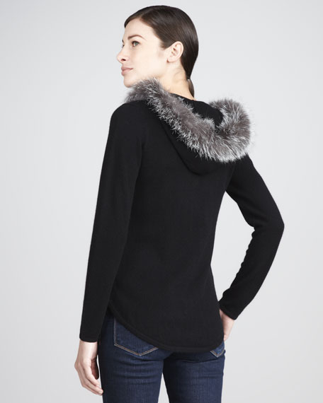Fur-Trimmed Cashmere Hoodie