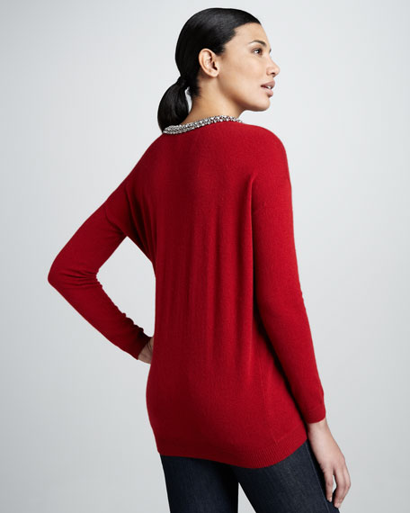 Tucked Jewel-Neck Sweater