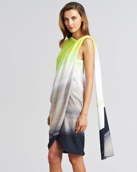 Draped Ombre Silk Dress