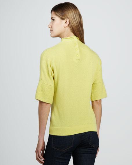 Mock-Neck Half-Sleeve Cashmere Sweater