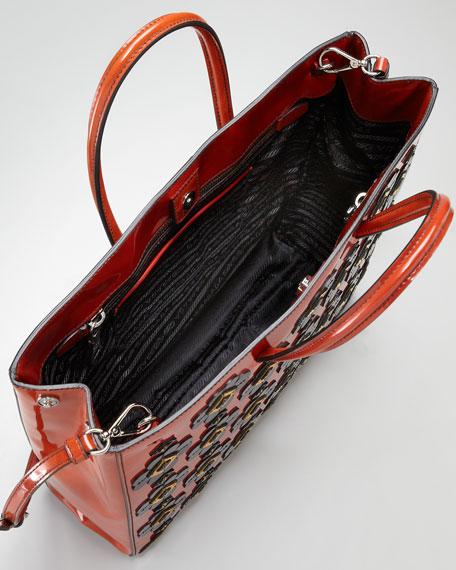 Floral Applique Spazzolato Tote Bag