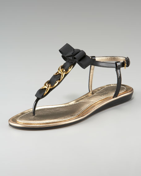 indira chain ribbon thong sandal