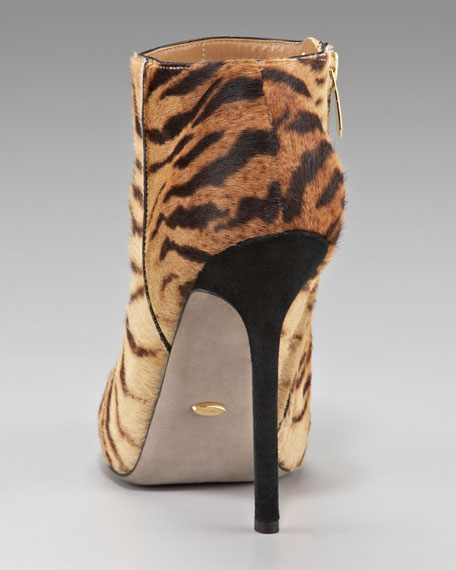 Tiger-Printed Calf Hair Bootie