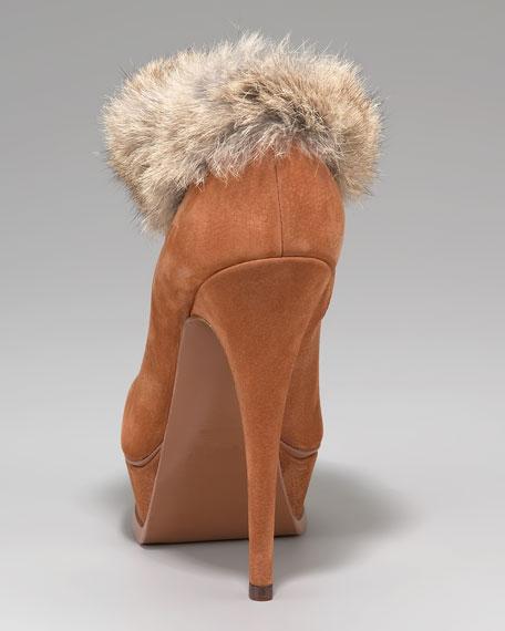 Fur-Cuff Platform Bootie