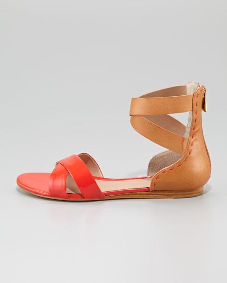 Fabia Two-Tone Flat Sandal, Coral