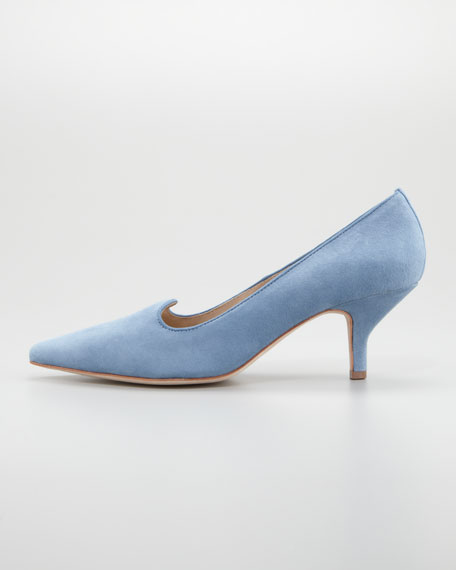 Clark Pointed-Toe Suede Smoking-Slipper Pump, Soft Blue