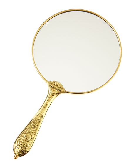 Antiqued Chrome Hand Mirror, 5.5""