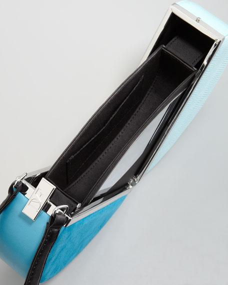 Colorblock Circle Box Clutch Bag, Multicolor