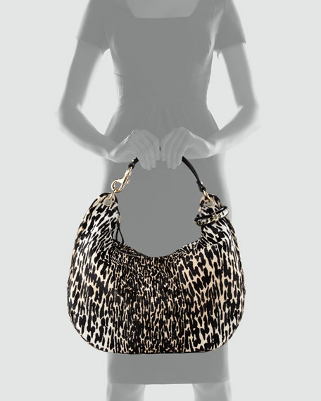 Leopard-Print Calf Hair Solar Hobo Bag