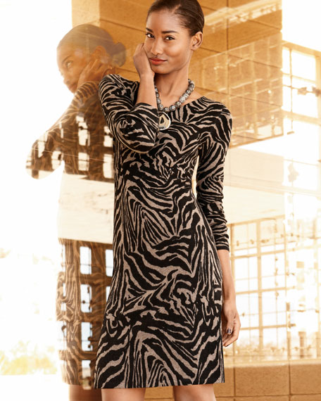 Zebra-Print Cashmere Dress