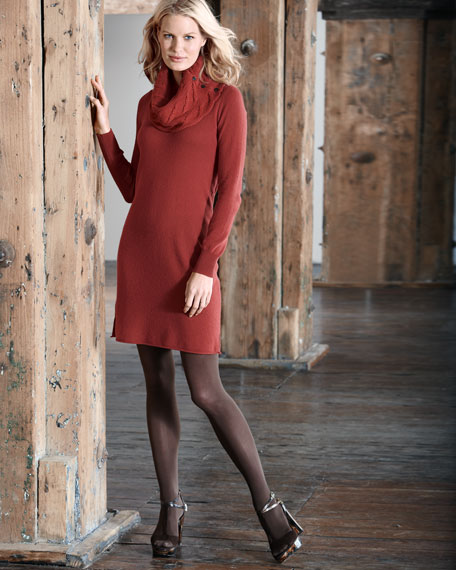 Cable-Collar Cashmere Dress