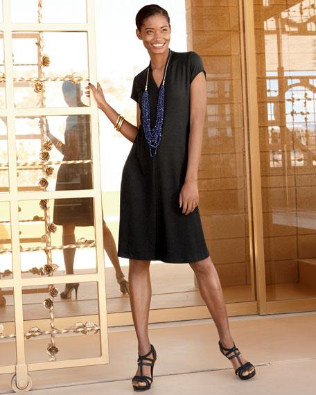V-Neck Cap-Sleeve Jersey Dress, Women's