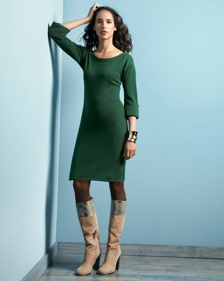 Cuffed Three-Quarter-Sleeve Cashmere Dress