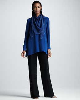 Eileen Fisher Silk Boxy Shirt, Beaded Silk Kerchief & Washable-Crepe Straight-Leg Pants, Women's