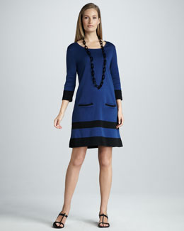 Joan Vass Stripe-Hem Dress