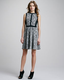 Rebecca Taylor Python-Print Flared Dress