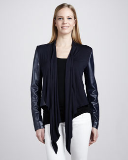 Bagatelle Waterfall Drape-Front Leather Jacket