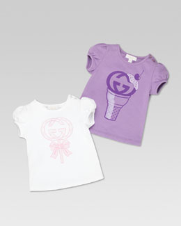 Gucci Gucci Sweets Set of 2 Tees, Purple/White