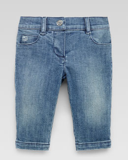 Gucci Washed Denim Pants, Powder Blue