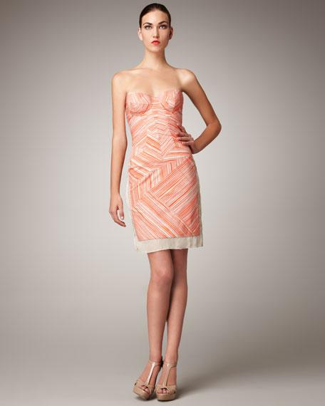 Stripe-Paneled Bustier Dress