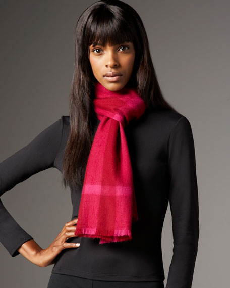 Mega Check Wool Scarf, Bright Burgundy