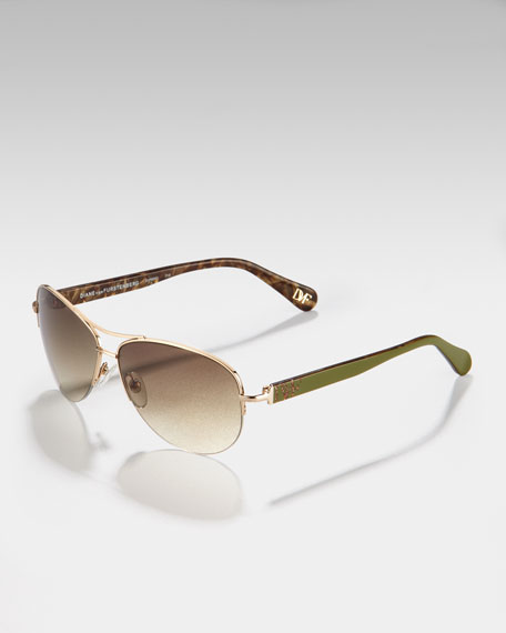 Logo-Temple Aviator Sunglasses