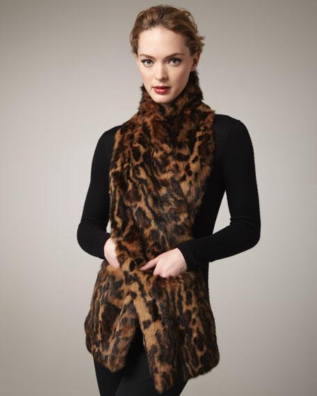 Ocelot-Print Fur Stole