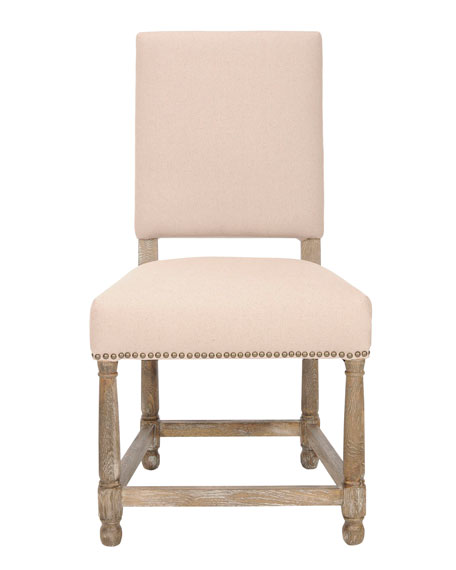 "Two ""Faxon"" Linen Side Chairs"