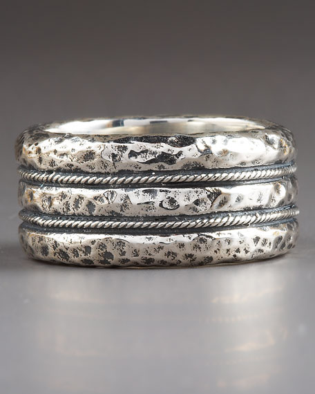 Hammered Rope Ring