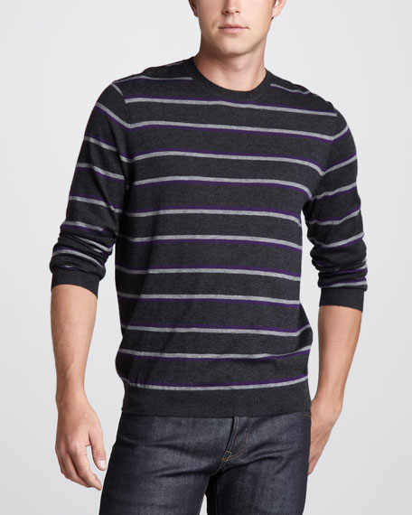 Striped Cashmere Sweater, Charcoal/Purple