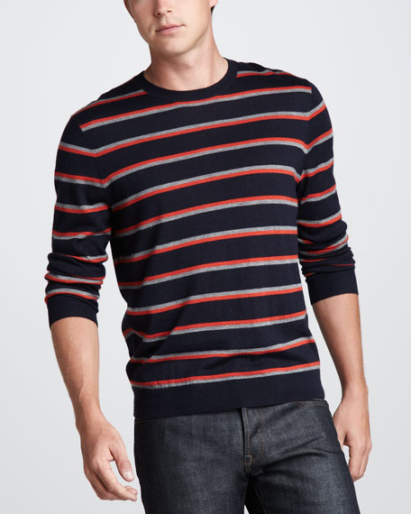 Striped Cashmere Sweater, Gray/Orange